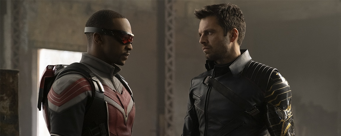 Anthony Mackie and Sebastian Stan in Marvel Studios' The Falcon and The Winter Soldier on Disney Plus