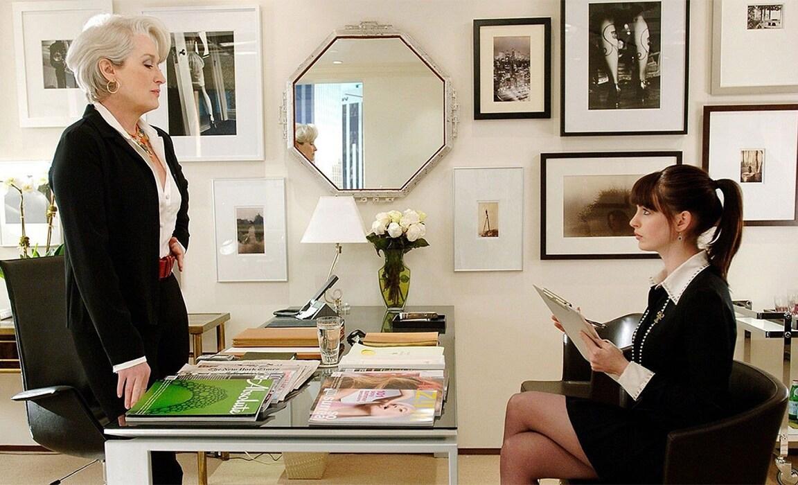 Meryl Streep and Anne Hathaway in The Devil Wears Prada on Disney Plus