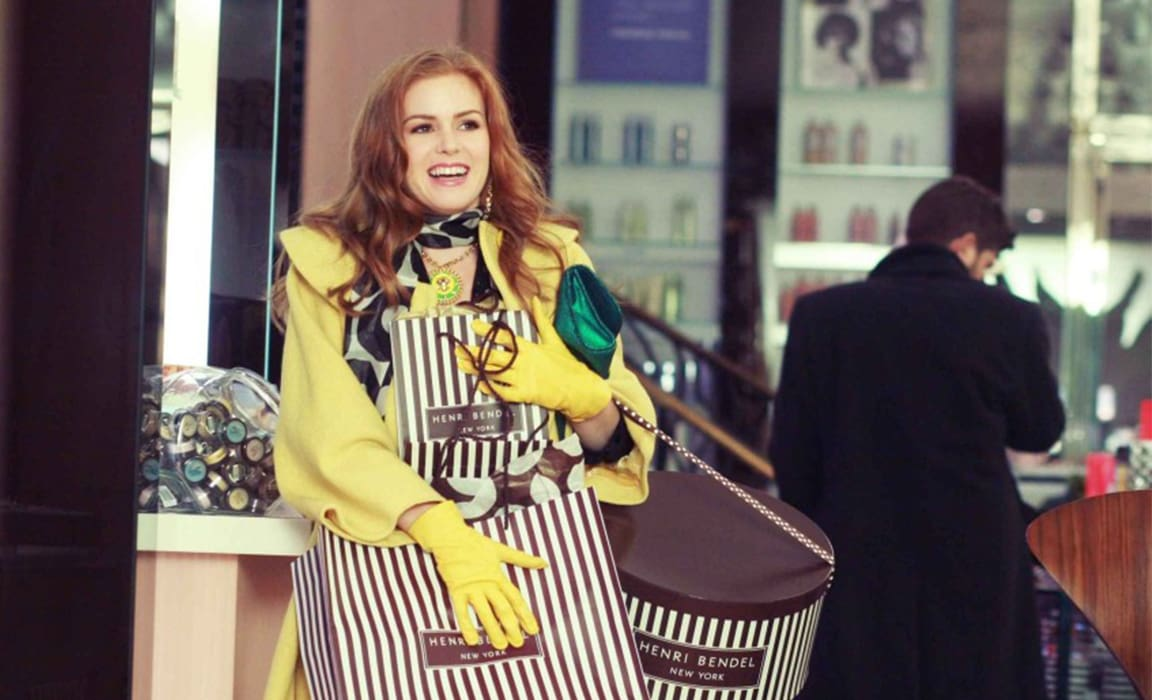 Isla Fisher in Confessions of a Shopaholic on Disney Plus