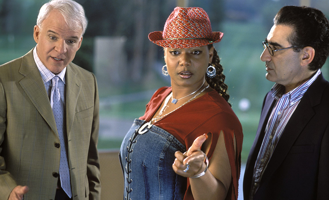 Steve Martin, Queen Latifah and Eugene Levy in Bringing Down the House on Disney Plus