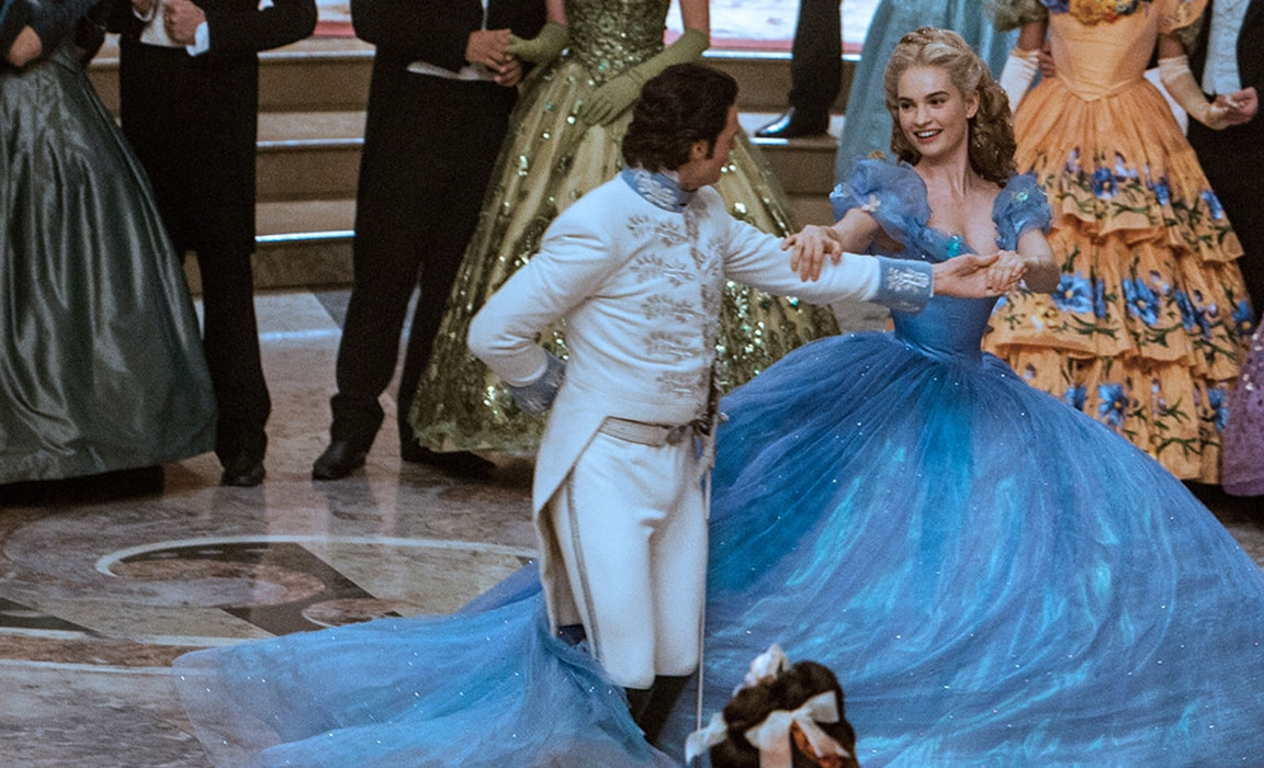 Richard Madden and Lily James in Cinderella on Disney Plus