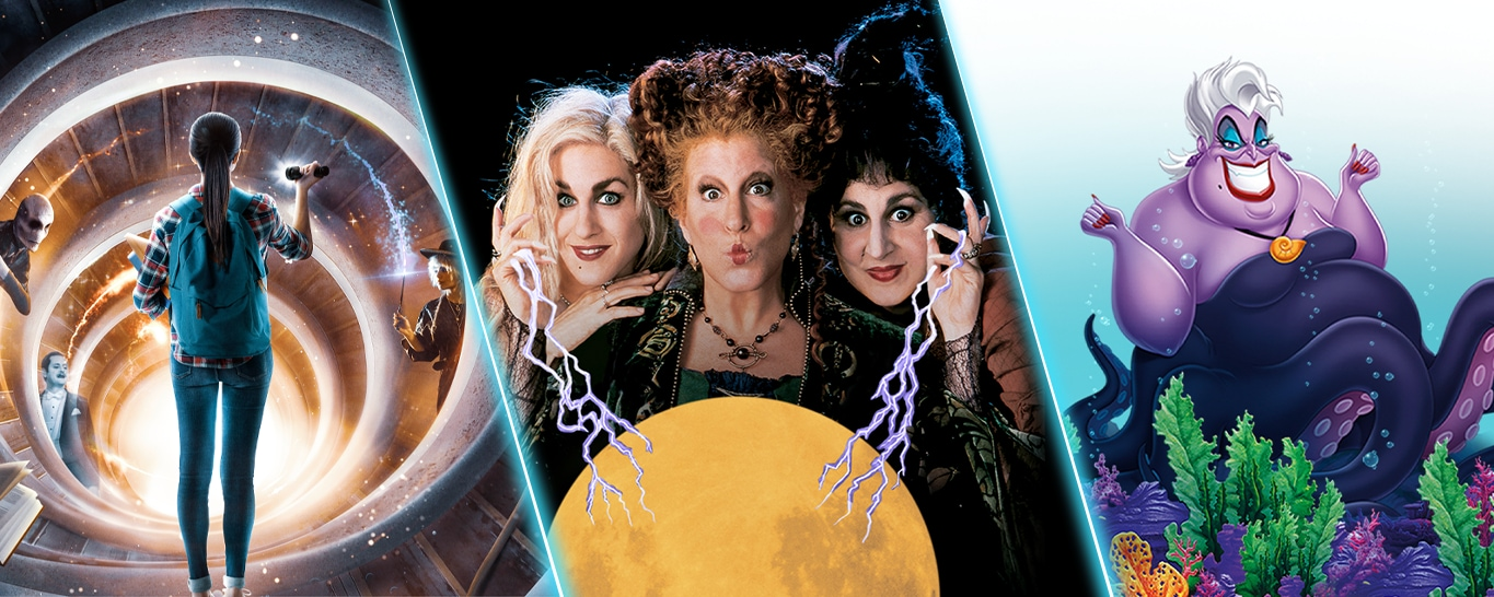 Disney Plus titles Just Beyond, Hocus Pocus, and the character of Ursula from The Little Mermaid