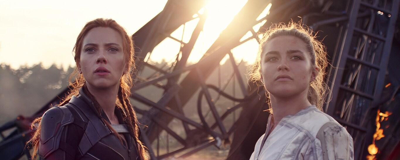 Scarlett Johansson as Natasha/Black Widow and Florence Pugh as Yelena in Marvel Studios' Black Widow