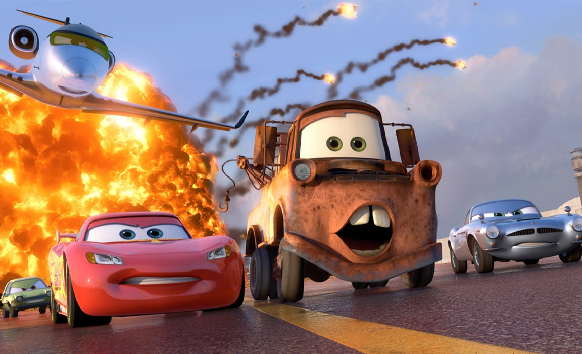 Lightning McQueen, Mater and Finn McMissile in Disney and Pixar's Cars 2 on Disney Plus