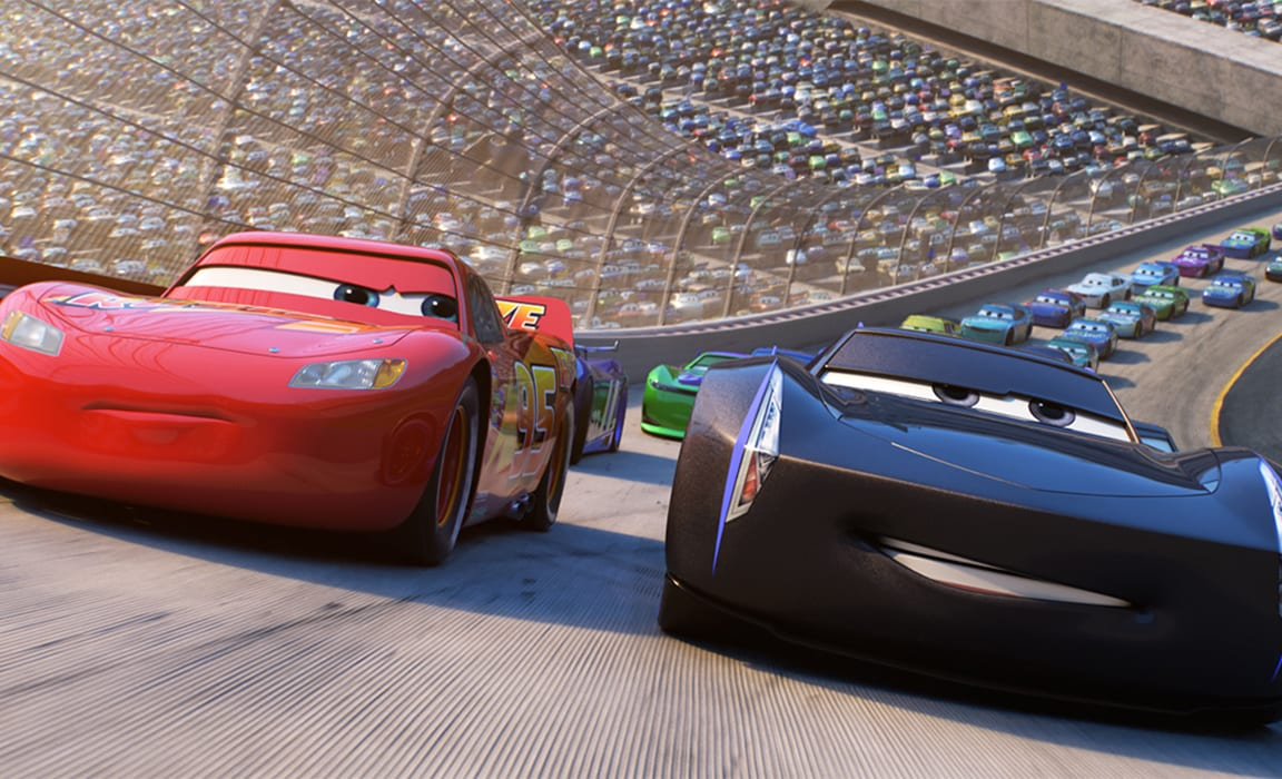 Lightning McQueen and Jackson Storm in Disney and Pixar's Cars 3 on Disney Plus