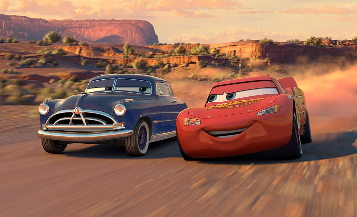 Doc and Lightning McQueen in Disney and Pixar's Cars on Disney Plus