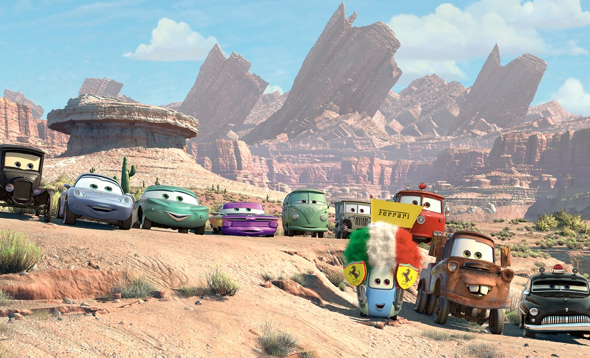 The cars from Radiator Springs in Disney and Pixar's Cars on Disney Plus