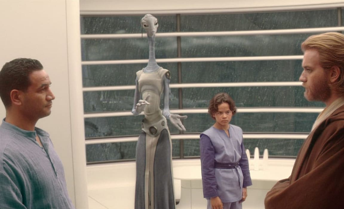 Temeura Morrison, Daniel Logan and Ewan McGregor in a scene from Star Wars: Episode II - Attack of the Clones