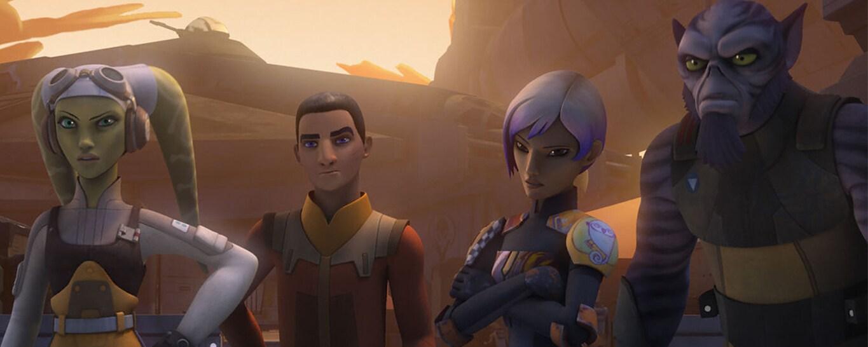 The characters Hera, Ezra, Sabine and Zeb from Star Wars Rebels