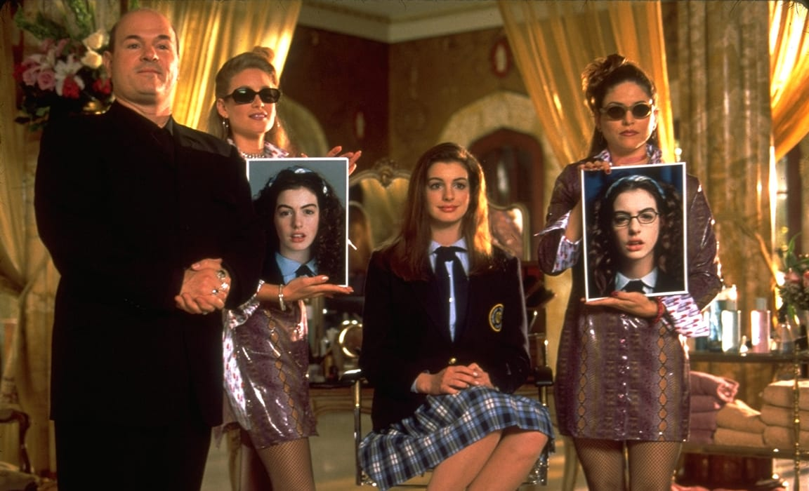 Larry Miller and Anne Hathaway in The Princess Diaries on Disney Plus