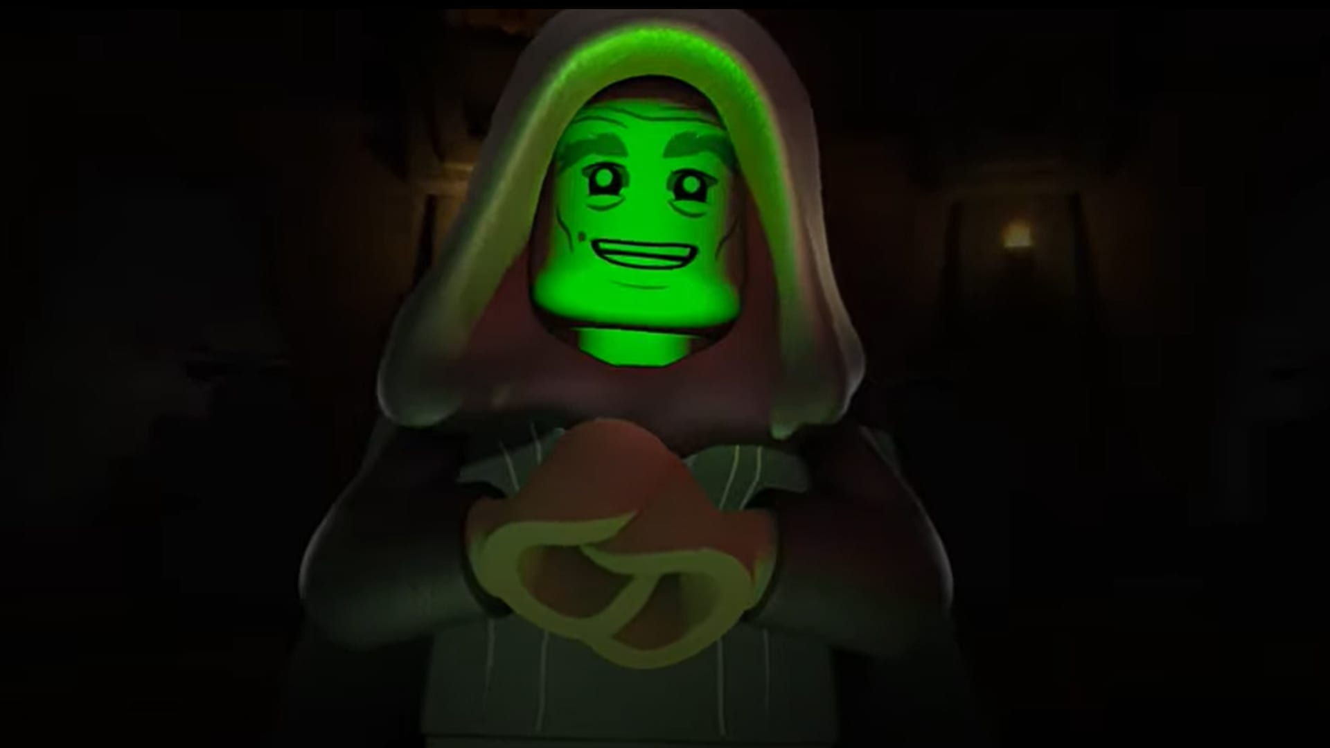 An animated LEGO character from the trailer for LEGO Star Wars Terrifying Tales