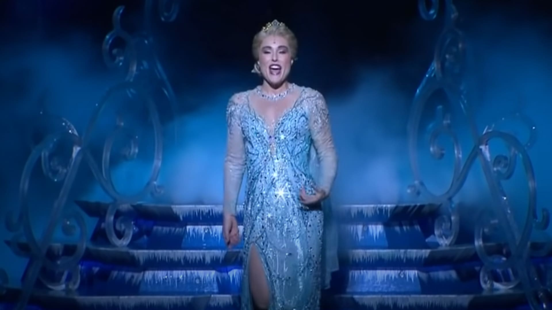 Jemma Rix from the Australian cast of Frozen the Musical performs 'Let It Go'