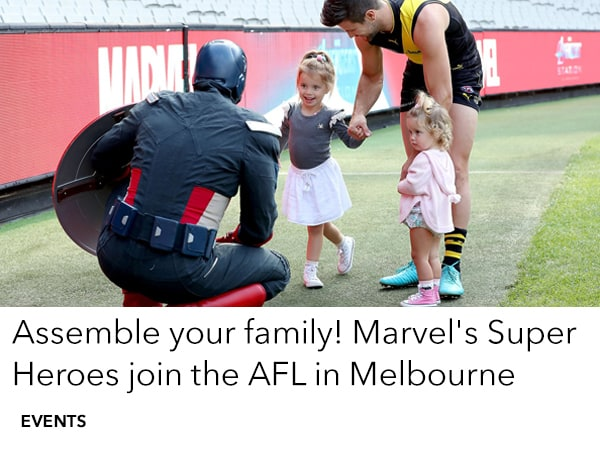 Visit Marvel Heroes at AFL Sundays