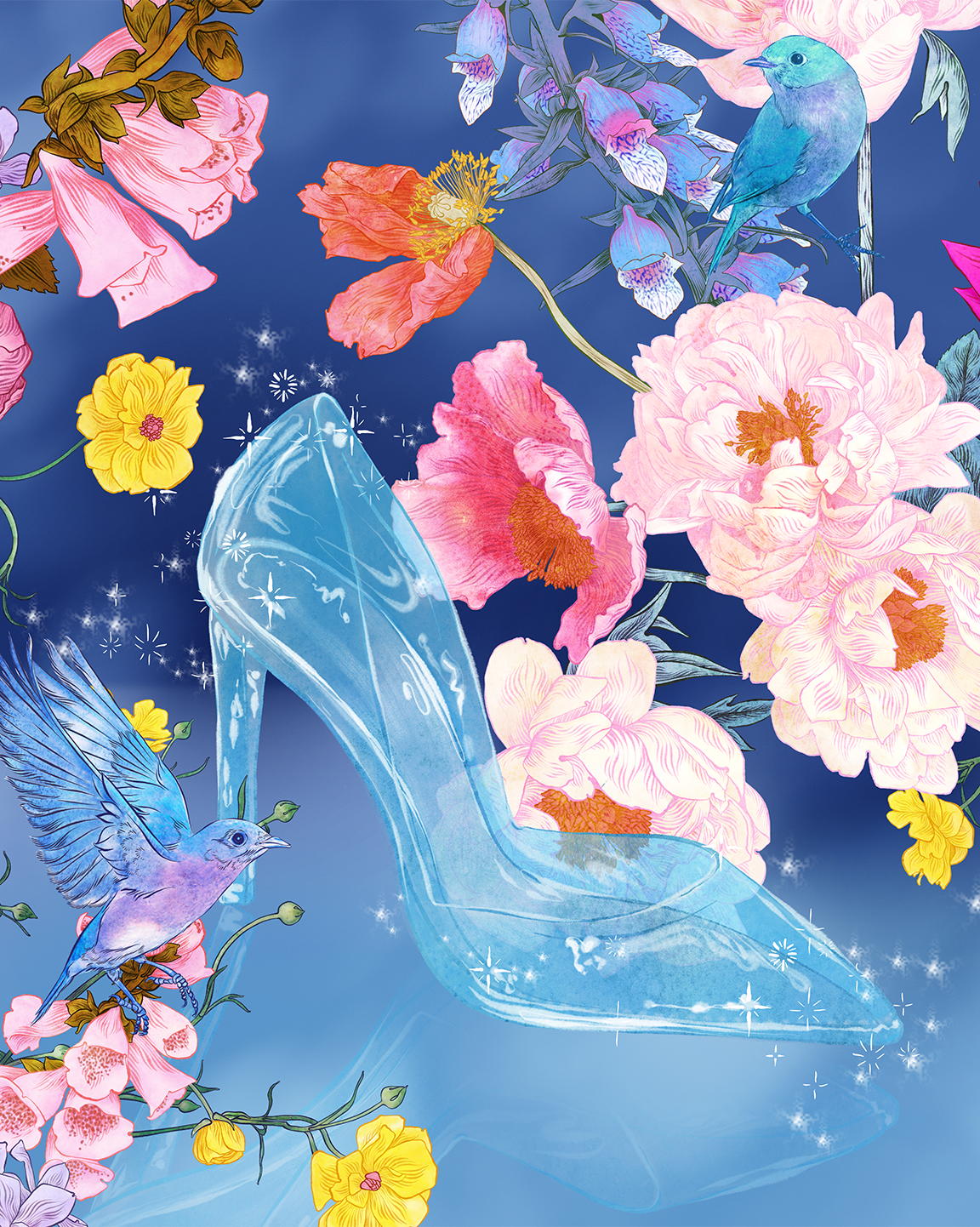 Adriana Picker's glass slipper artwork for Cinderella's 70th Anniversary.