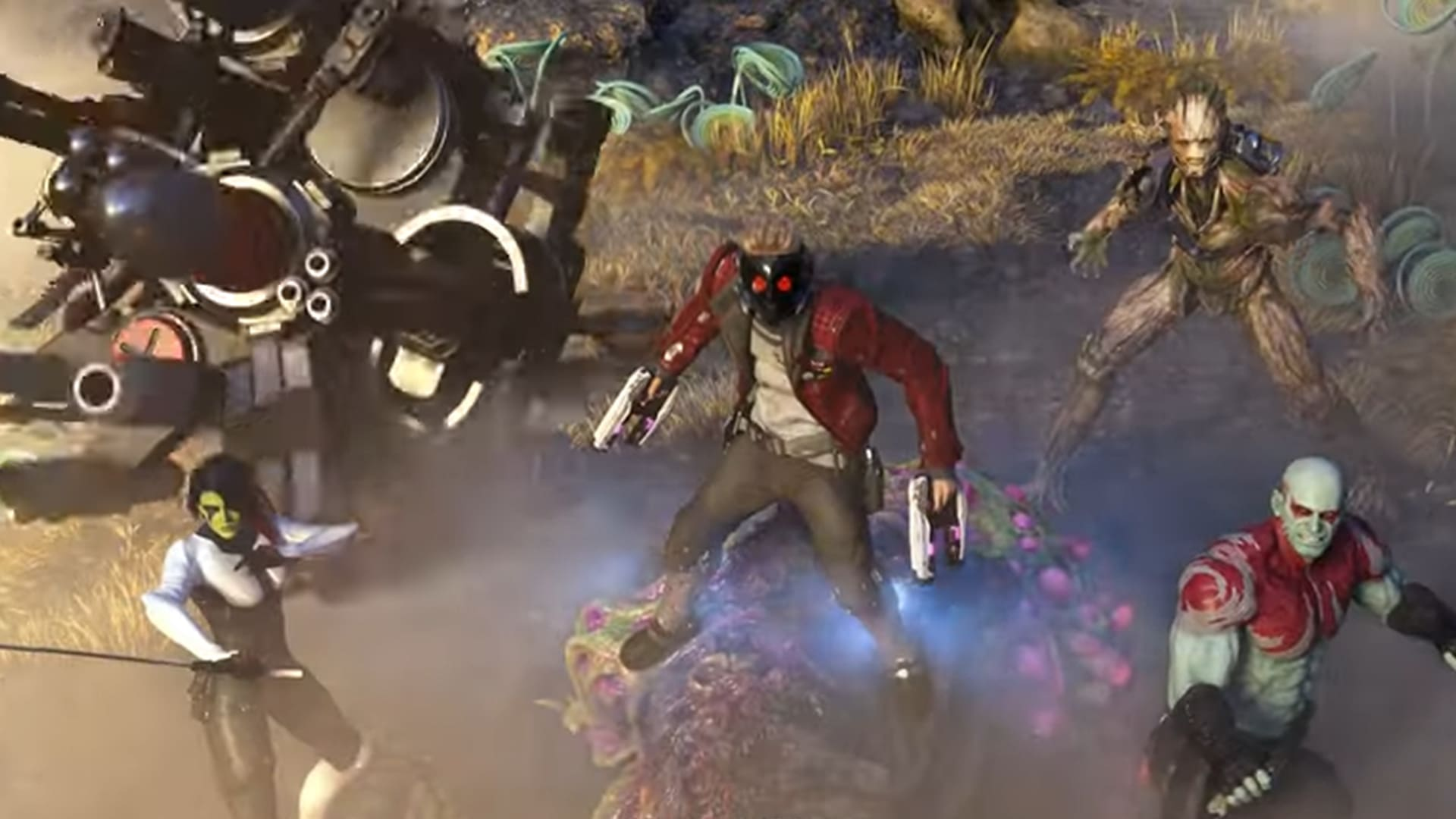 Gamora, Star-Lord, Groot and Drax ready to fight from Marvel's Guardians of the Galaxy video game