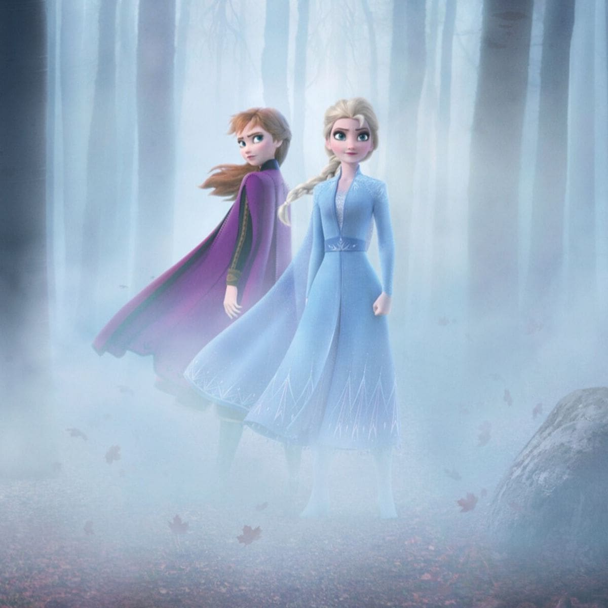 Anna and Elsa in the forest
