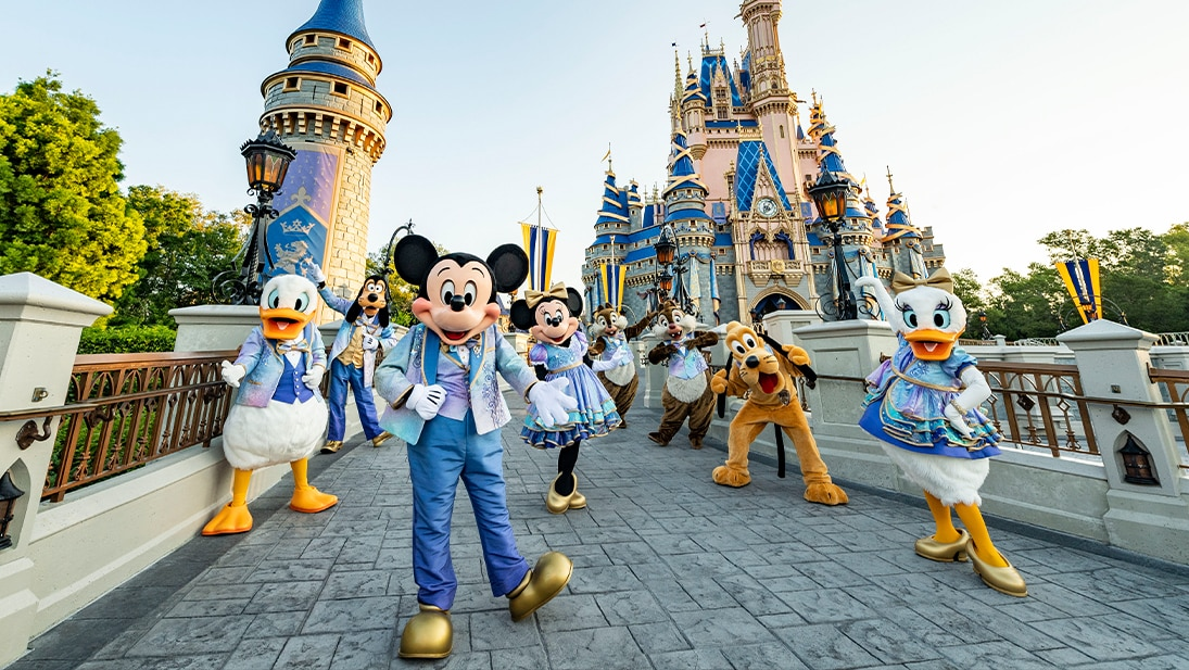 A still image of Mickey Mouse, Minnie Mouse and friends from the Walt Disney World 50th Anniversary