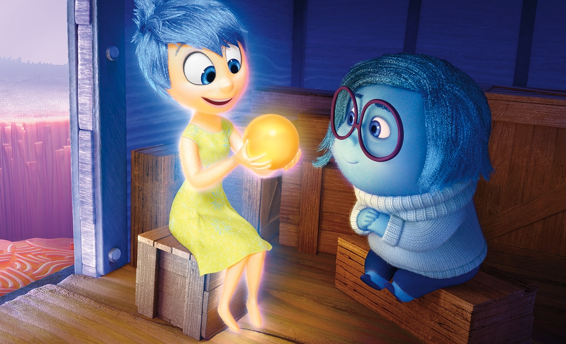 Joy and Sadness from Disney and Pixar's Inside Out