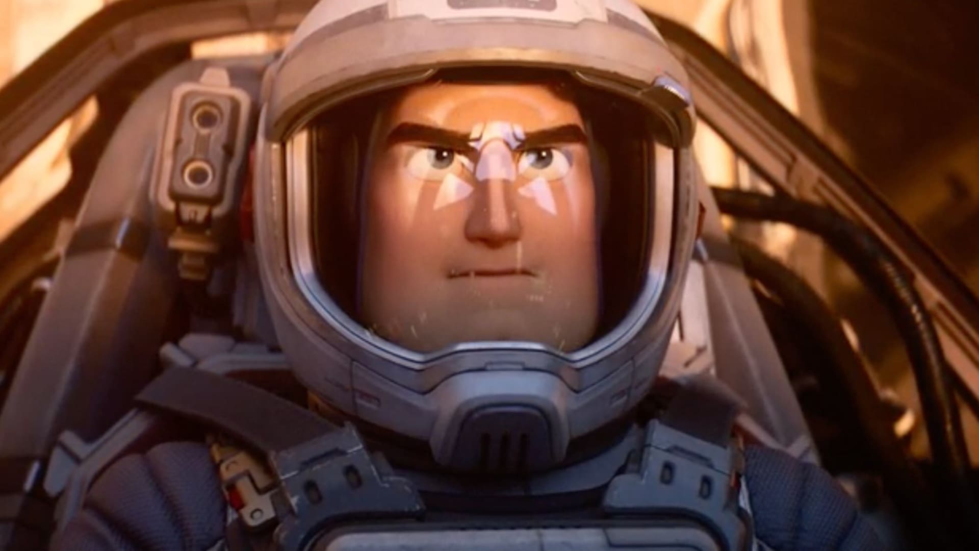 Animated character Buzz Lightyear wearing a space helmet from Disney and Pixar's Lightyear