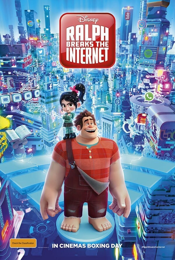 Ralph Breaks the Internet  Austrailia Poster- Ralph and Vanellope standing on wifi symbol