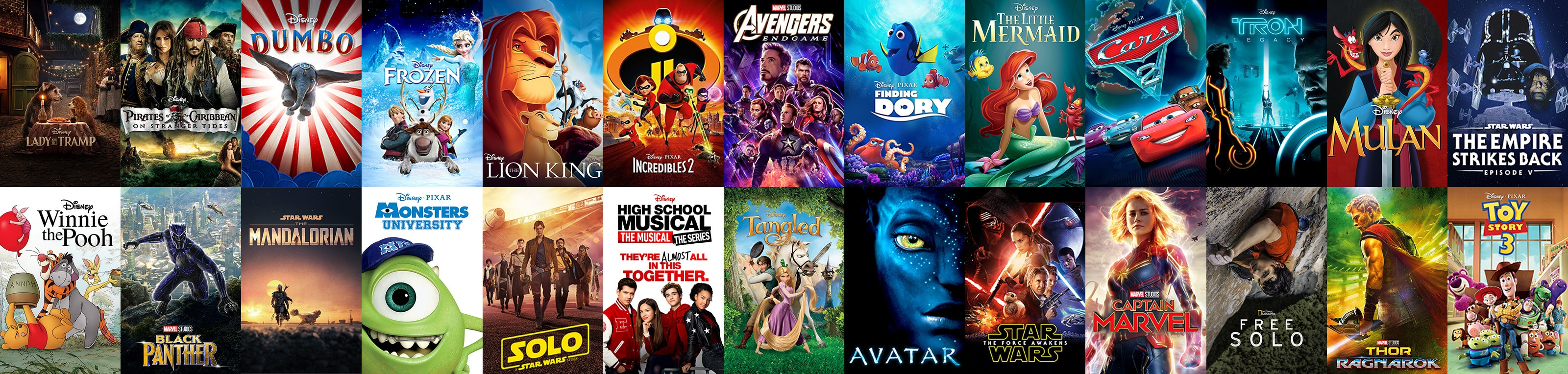 A selection of titles available on Disney+