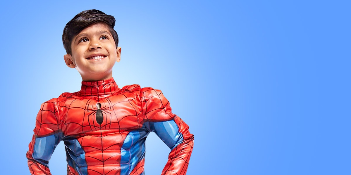 Young boy in a Spider-Man costume from shopDisney UK
