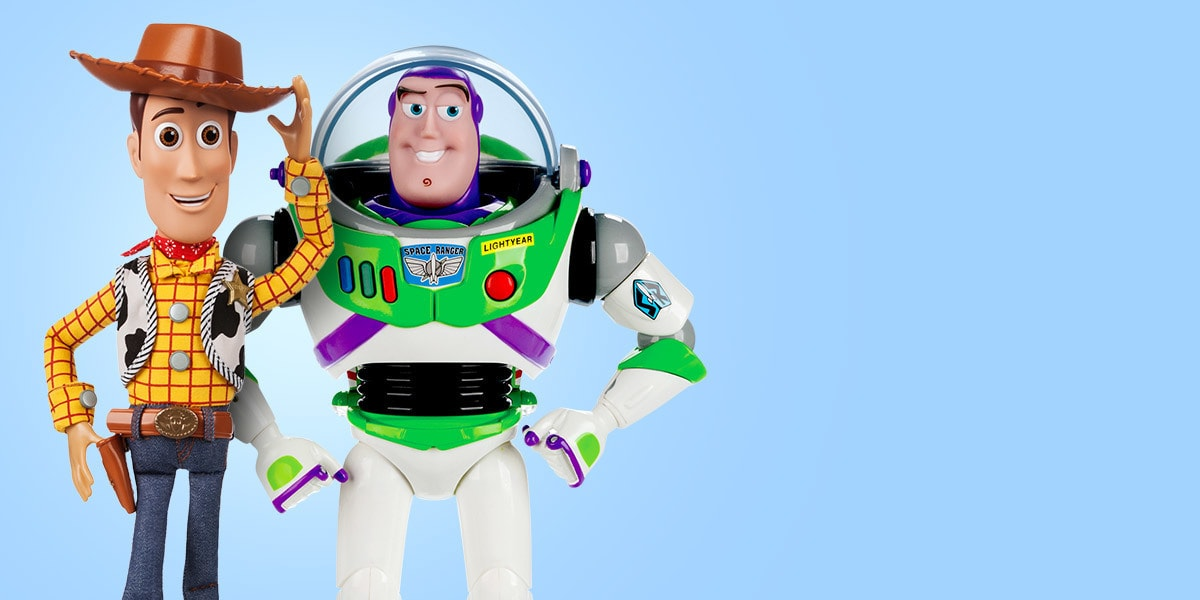 Sheriff Woody and Buzz Lightyear toys from shopDisney UK