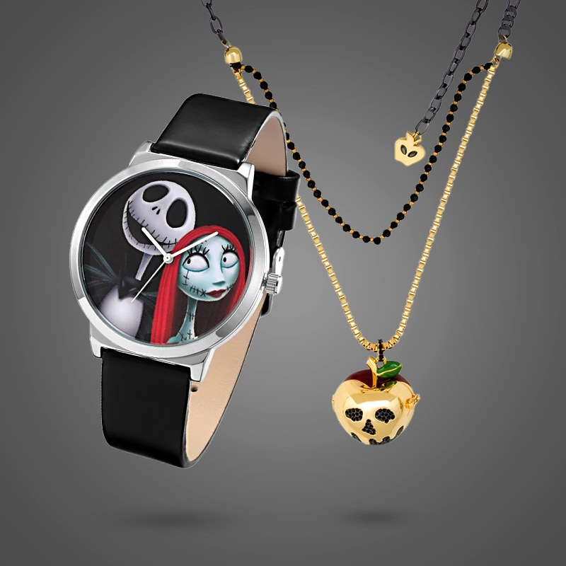 A watch featuring characters Jack Skellington and Sally and a poisoned apple necklace from the Disney x Couture Kingdom collectionection