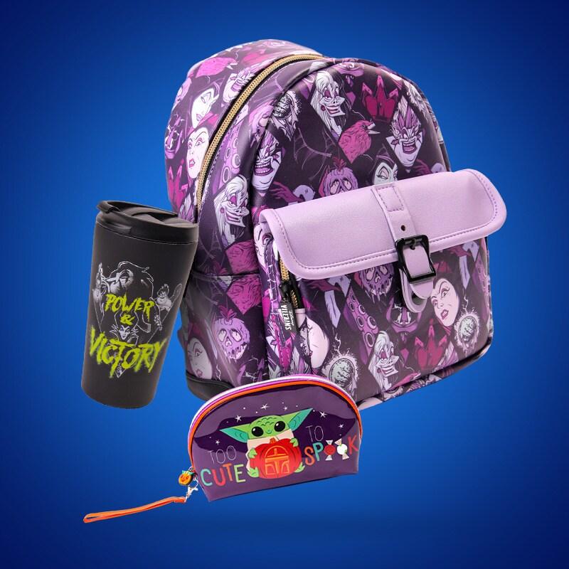 A Disney Villains backpack and travel mug and Grogu case on a blue backround