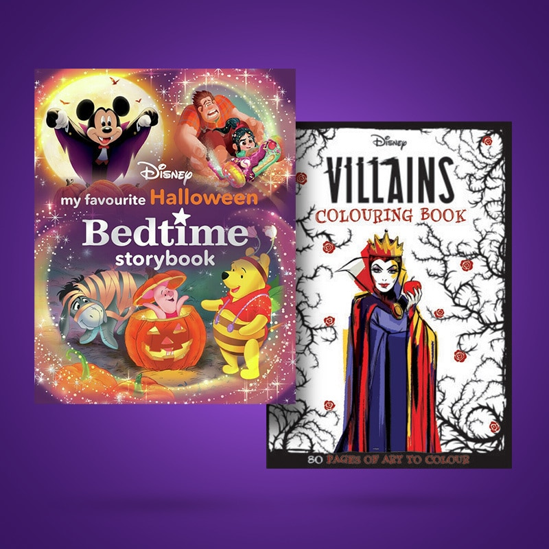 Disney Halloween Storybook and Villains Colouring book covers on a purple background.