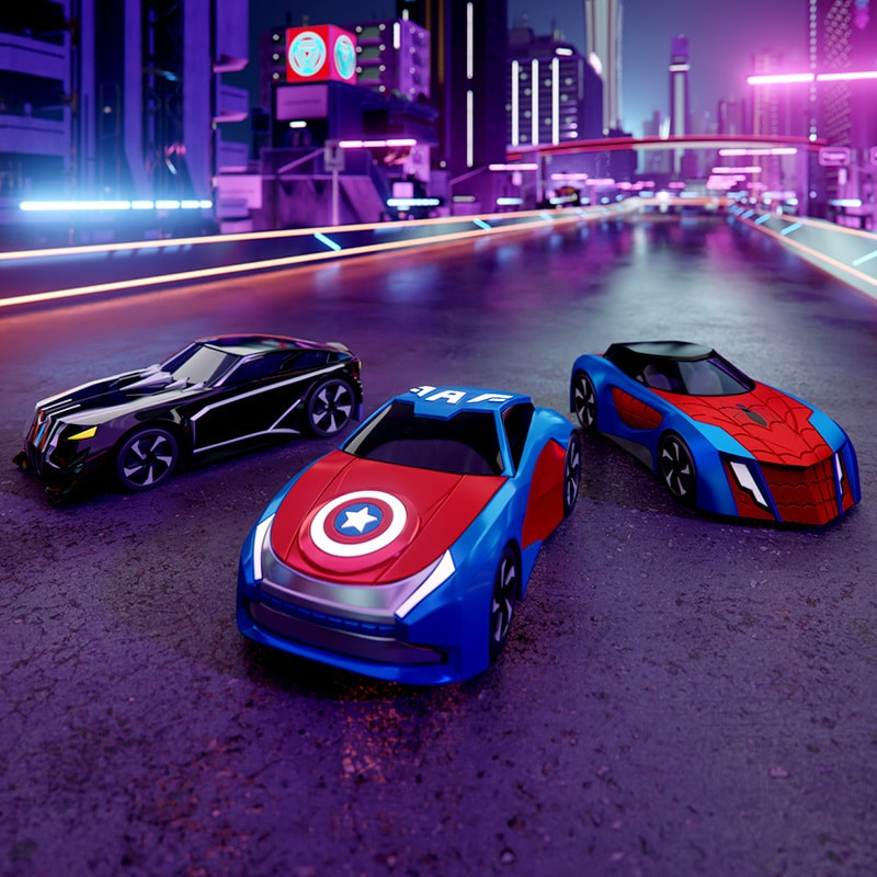 Black Panther, Captain America and Spider-Man themed toy cars from the Marvel GO Collection