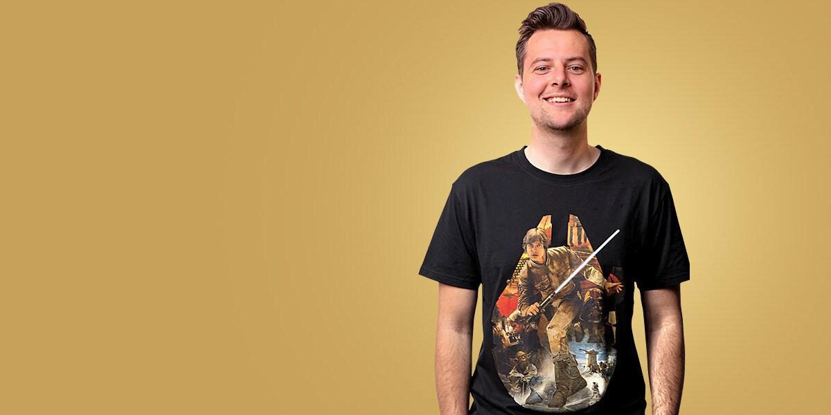 A Star Wars t-shirt featuring a Millennium Falcon design by artist Mark Raats