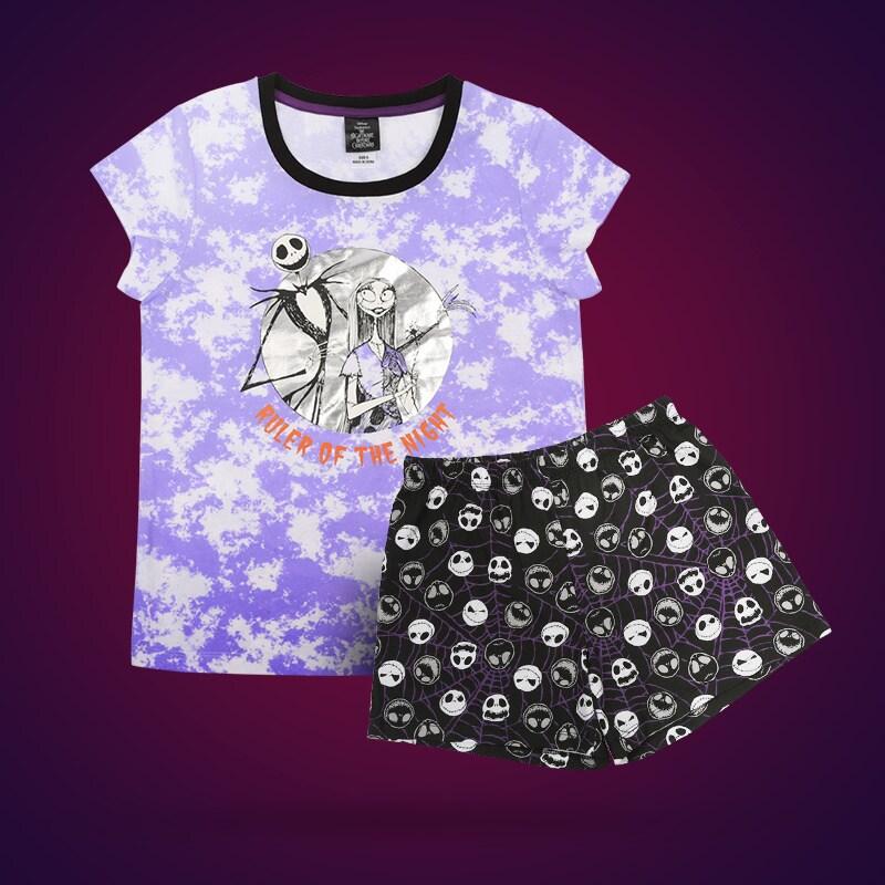 The Nightmare Before Christmas sleepwear set on a maroon background.