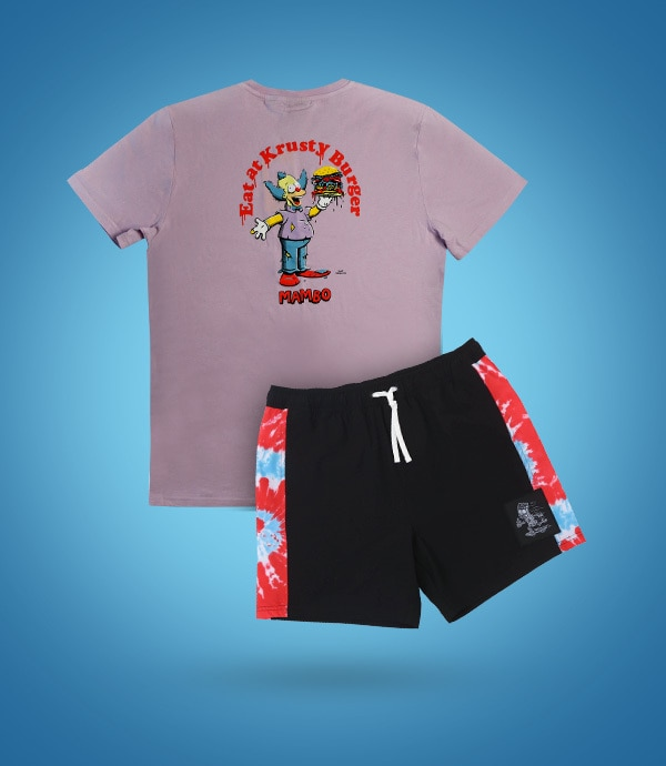 A t-shirt and pair of shorts from The Simpsons collection by Mambo against a blue background