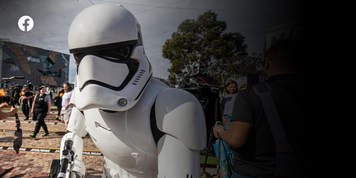A photo of a Star Wars stormtrooper in a crowd. Like Star Wars Australia and New Zealand on Facebook.