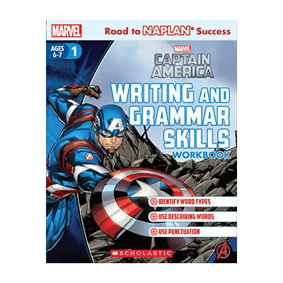 Captain America Writing and Grammar Skills Workbook