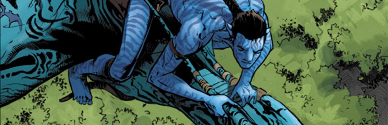 Comic book image of Na'vi flying on a Mountain Banshee
