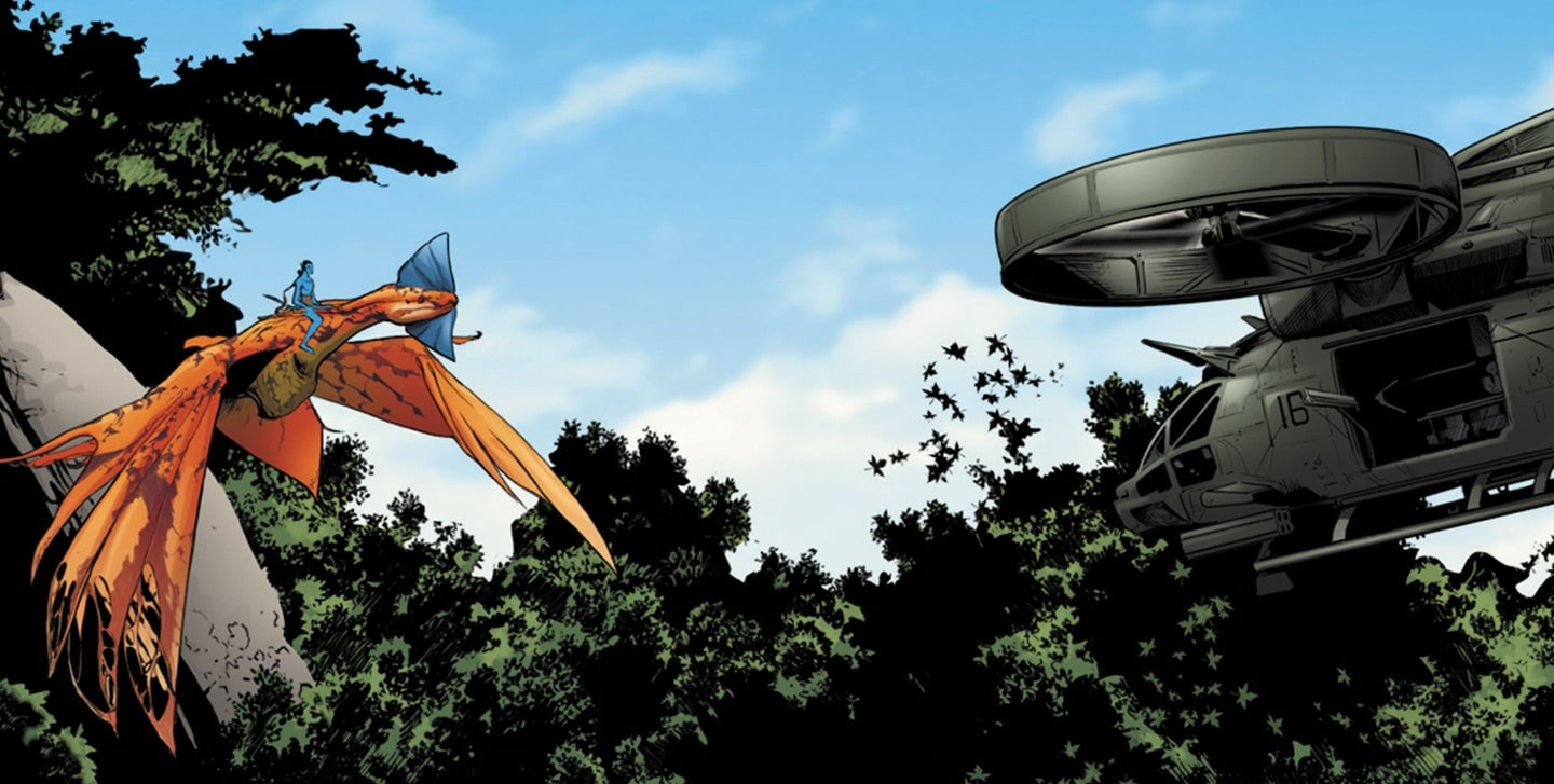 Comic book image of Na'vi flying on Mountain Banshee while facing an RFA military-grade helicopter