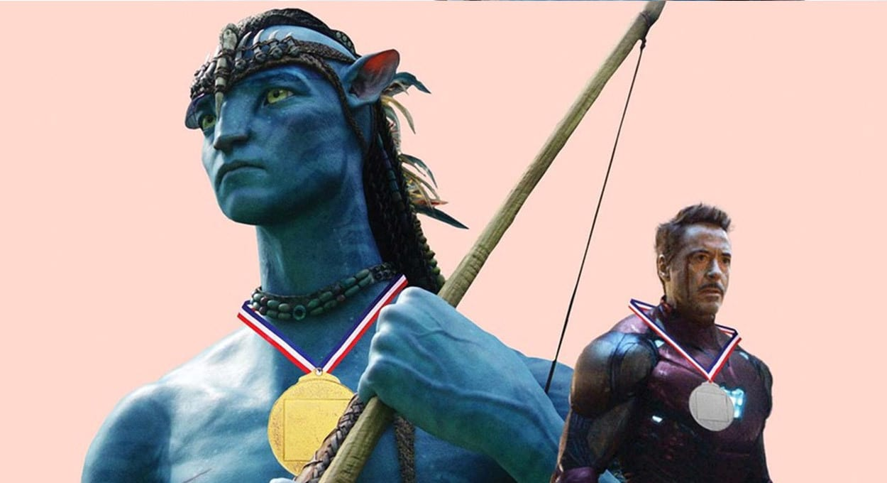 Image of Jake wearing a gold medal and Iron Man (Robert Downey Jr.) wearing a silver medal