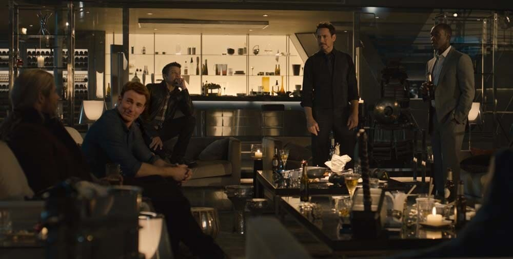 The Avengers are pictured sitting down together in Tony Stark's lounge bar in a scene from Avengers: Age of Ultron.