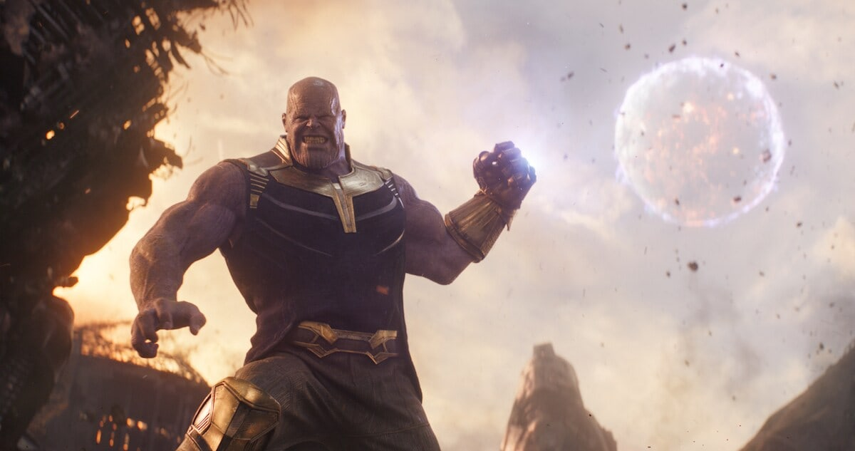 Thanos clenches his fist in a scene from Avengers: Infinity War.