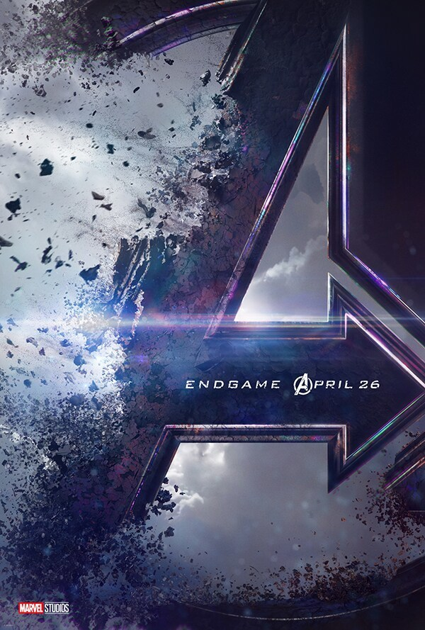 Avengers Endgame April 26 Marvel Studios; Avengers emblem being destroyed