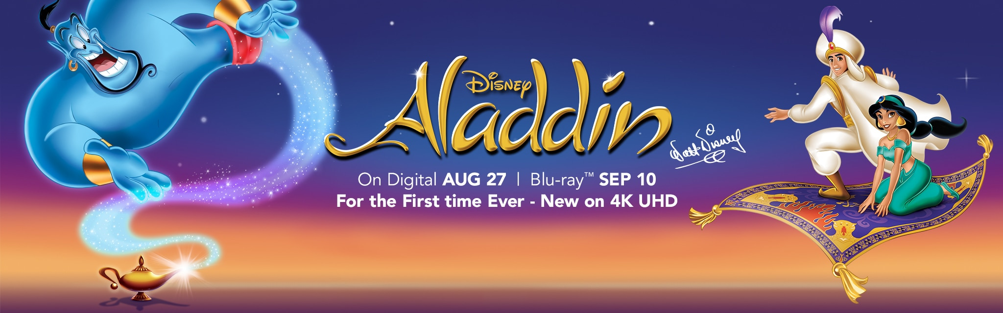 Disney Aladdin on Digital Aug. 27 and Blu-ray Sept. 10. For the First time Ever - New on 4K UHD.