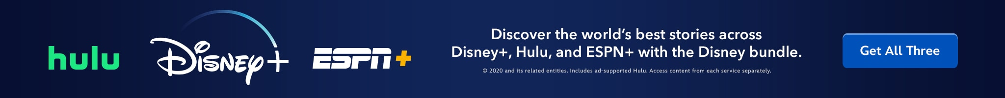 Disney+ | Hulu | ESPN+ | Discover the world's best stories across Disney+, Hulu, and ESPN+ with the Disney bundle. | Get all Three.