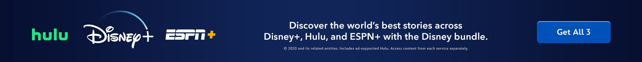 Disney+ | Hulu | ESPN+ | Discover the world's best stories across Disney+, Hulu, and ESPN+ with the Disney bundle. Get All 3.
