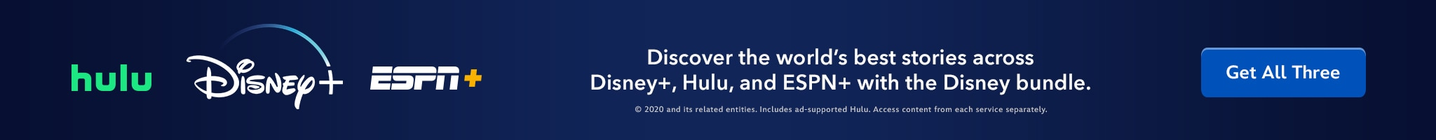 Disney+ | Hulu | ESPN+ | Discover the world's best stories across Disney+, Hulu, and ESPN+ with the Disney bundle. Get All Three.