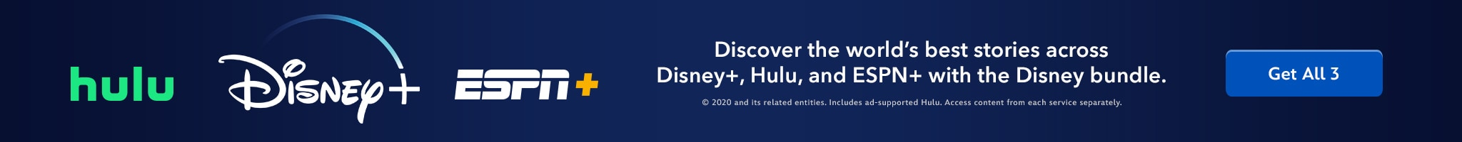 Disney+ | Hulu | ESPN+ | Discover the world's best stories across Disney+, Hulu, and ESPN+ with the Disney bundle. | Get all 3.