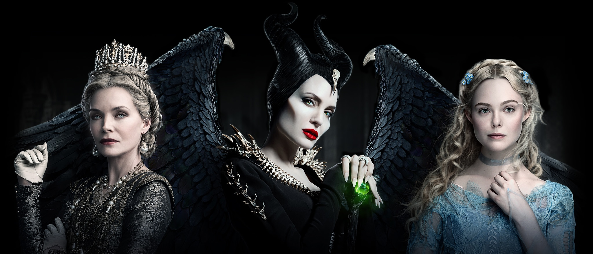 Michelle Pfeiffer, Angelina Jolie and Elle Fanning in Maleficent: Mistress of Evil