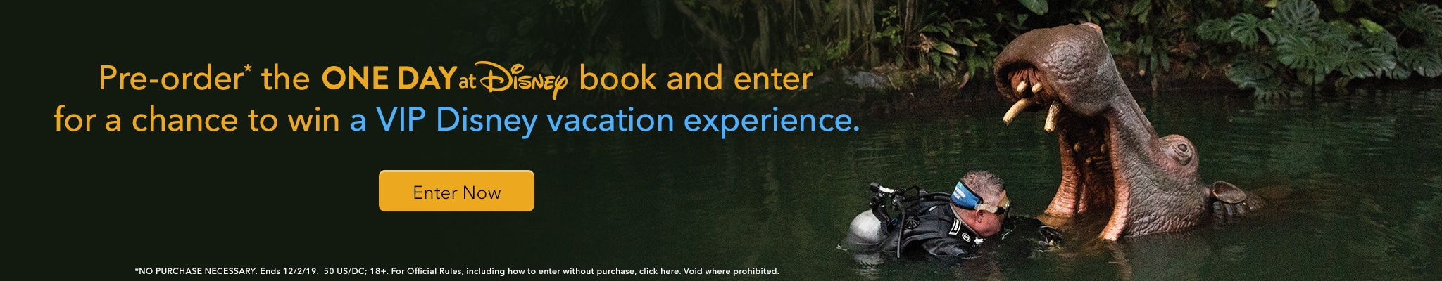 Pre-order the One Day at Disney book and enter for a chance to win ua VIP Disney vacation experience! NO PURCHASE NECESSARY. Ends 12/2/19.  50 US/DC; 18+. For Official Rules, including how to enter without purchase, click here. Void where prohibited.