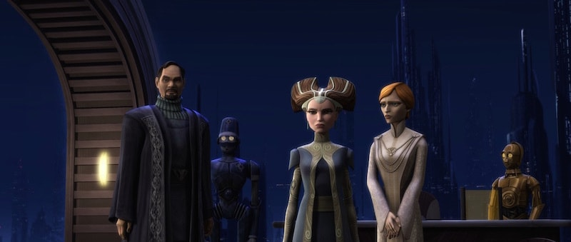 Bail Organa, Padmé Amidala, Mon Mothma, and C-3PO